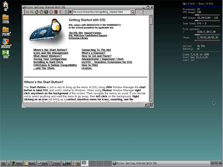 Damn Small Linux Desktop Screenshot