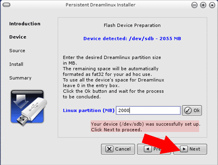 Once Dreamlinux partition has been created, click Next