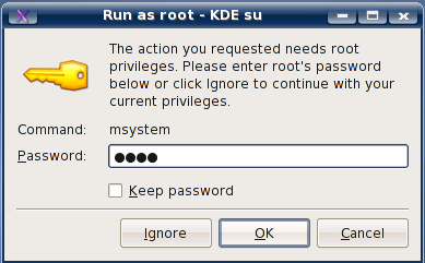 Enter root password and click OK
