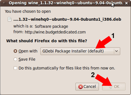 Opening and Installing WINE on Ubuntu 9.10