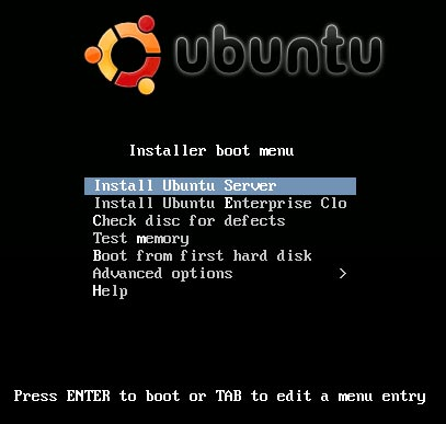 Ubuntu 9.10 Server Edition Installer running from USB