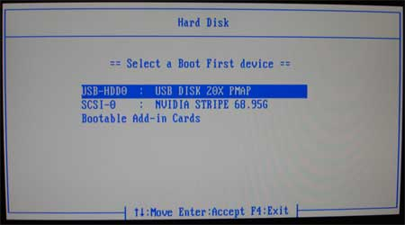 Make the USB drive the first boot device