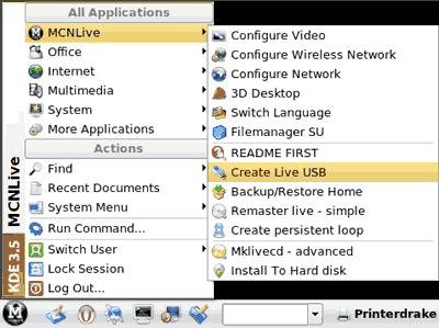 Navigate to MCNLive -> Create Live USB